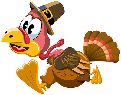 cartoon turkey with pilgrim hat in a hurry